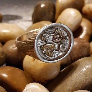 Mens Black Hills Gold 12k & Sterling Ring Sz 12